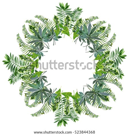 A wreath of tropical leaves
