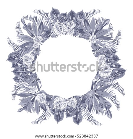 A wreath of tropical leaves and flowers