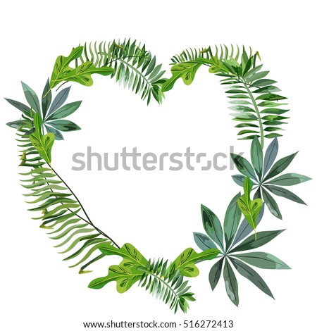 A wreath of tropical leaves in the shape of a heart.