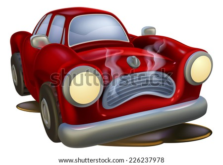 A wrecked cartoon car needing fixing by a mechanic or automotive garage - stock vector