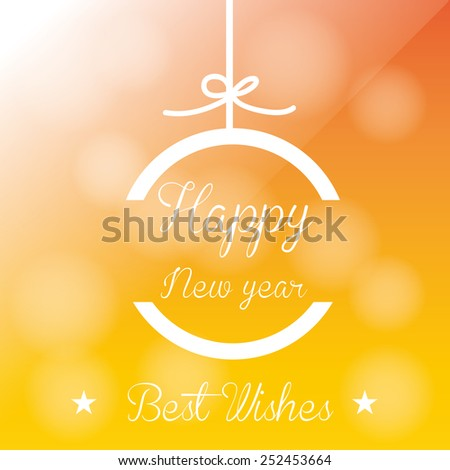 a yellow background with text and a christmas ball for new year - stock vector
