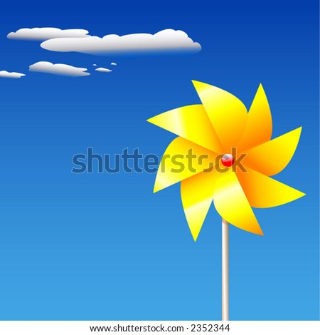 A yellow, pinwheel or whirligig toy/garden-ornament, with a floral look, against blue summer sky.