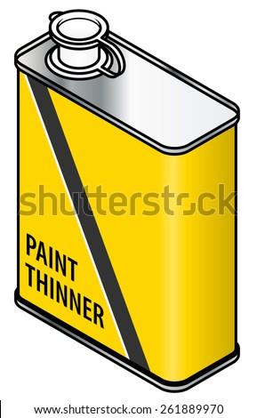 A yellow rectangular metal tin of paint thinner. - stock vector