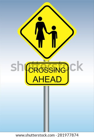 a yellow sign for crossing the road on a blue background - stock vector