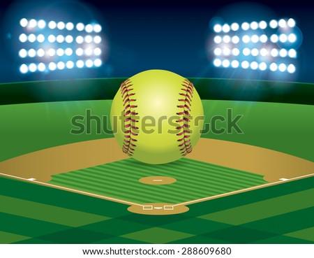 Yellow Softball Image a Yellow Softball Sitting on