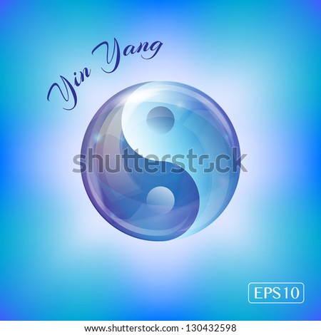 A Yin Yang design created in a water bubble in shades of blue. EPS10 vector format - stock vector