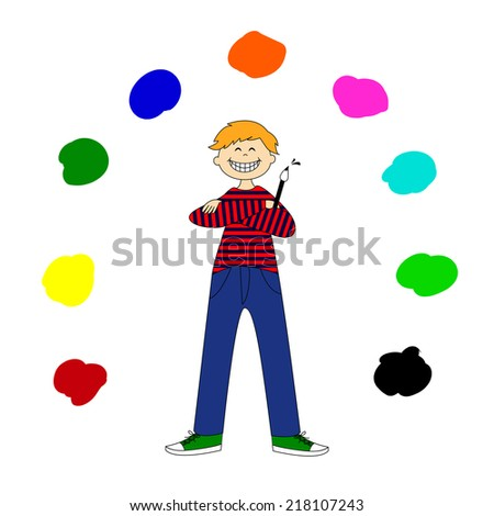 A young artist, vector illustration