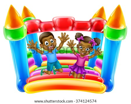 A young black boy and girl having fun jumping on a bouncy castle - stock vector