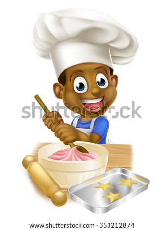A young black boy kid in an apron and chef hat baking cakes - stock vector