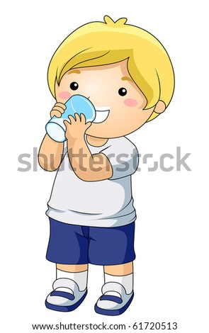 A Young Boy Drinking a Glass of Milk - Vector - stock vector