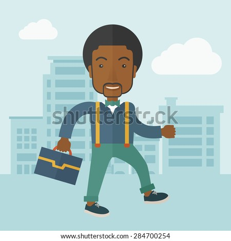 A Young businessman walking through the city's streets to attend a business meeting carrying a briefcase. A contemporary style with pastel palette soft blue tinted background with desaturateds clouds - stock vector