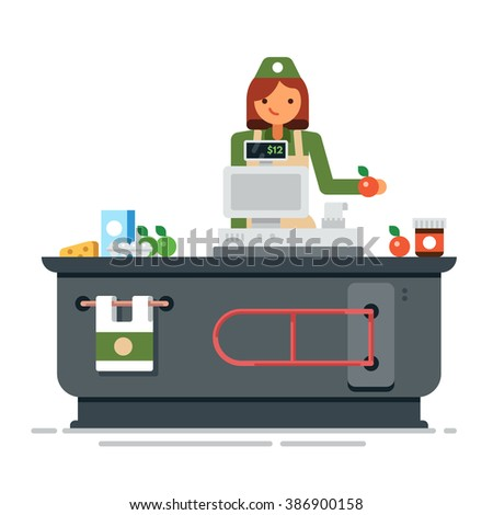 A young cashier woman. Supermarket store counter desk equipment and clerk in uniform ringing up grocery purchases. Flat vector illustration isolated on white background. - stock vector