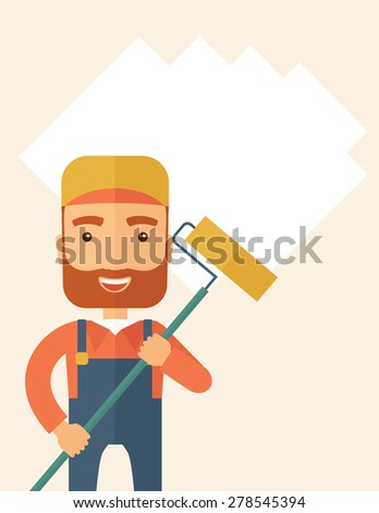 A young Caucasian glass cleaner wearing hat holding stick rubber scraper. A Contemporary style with pastel palette, soft beige tinted background. Vector flat design illustration. Vertical layout with - stock vector