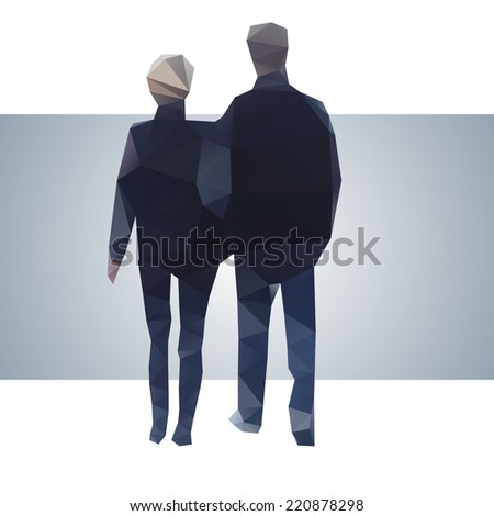 A young couple outside - stock vector