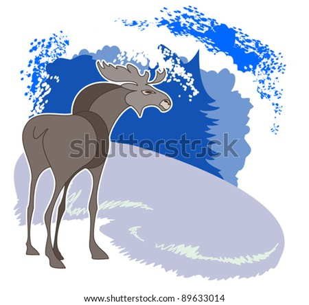 A young elk standing in a clearing in the winter forest - stock vector