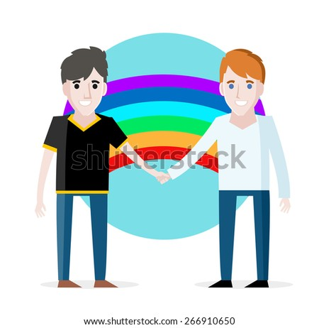 A young gay couple with a rainbow - stock vector