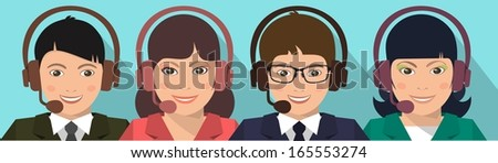 a young girl and a man in a business suit with a headset on a blue background - stock vector