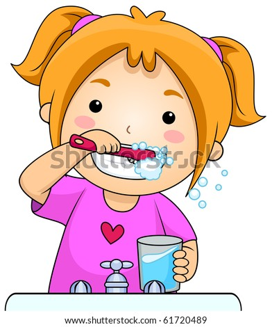 A Young Girl Brushing Her Teeth - Vector - stock vector
