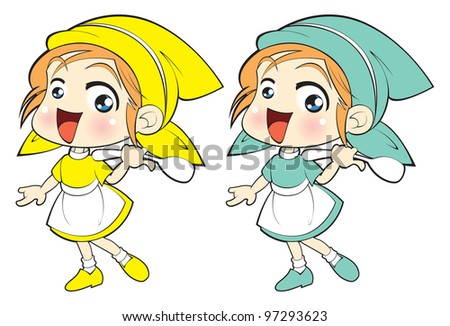 A young girl having fun ,Education, learning, cooking, childhood - stock vector