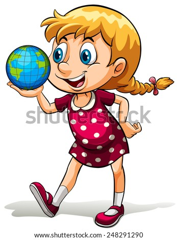 A young girl holding a globe on a white background - stock vector