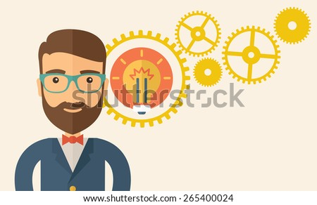 A young good looking, smart hipster Caucasian man with beard thinking a new bright idea, a different kind of imagination  inspired by bulb shape. Human intelligence concept.A contemporary style - stock vector