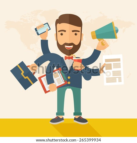 A young happy hipster Caucasian with beard has six arms doing multiple office tasks at once as a symbol of the ability to multitask, performing multiple task simultaneously. Multitasking concept.  - stock vector