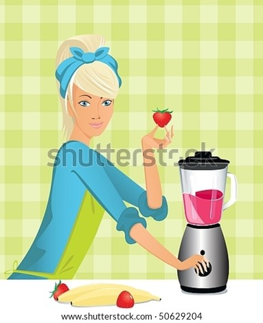 a young housewife prepares a dessert in a blender - stock vector