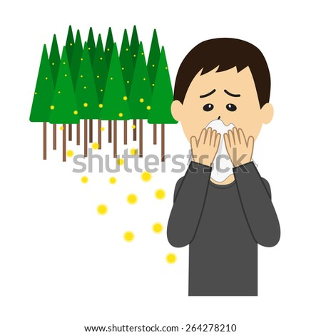 A young man blowing nose, allergy caused by cedar pollen, vector illustration - stock vector
