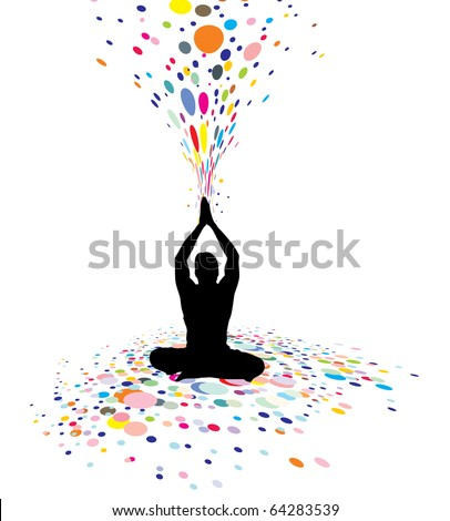 A young man doing yoga vector silhouette in creating a nature power, vector illustration - stock vector