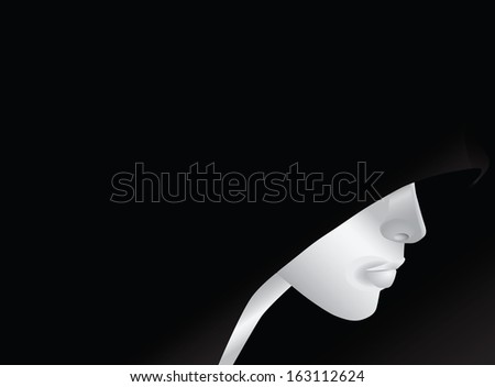 A young man in a hood, an abstract pattern. Vector illustration. - stock vector
