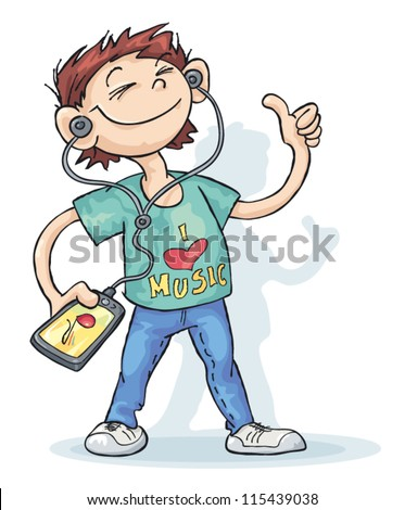 A young man listening to music with a smart phone. - stock vector