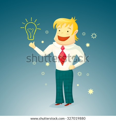 A young man smiling with blond hair, a successful businessman enjoys a new idea, the concept of a startup, character design, vector illustration in cartoon style
