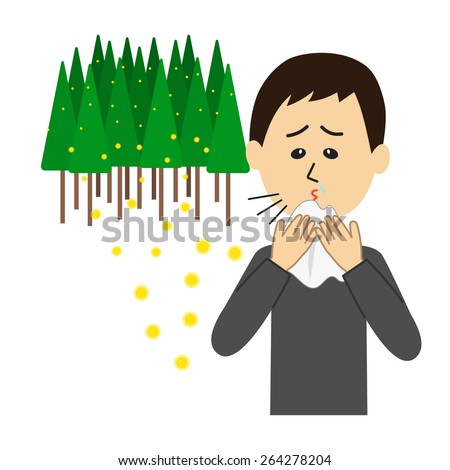 A young man sneezing, allergy caused by cedar pollen, vector illustration - stock vector