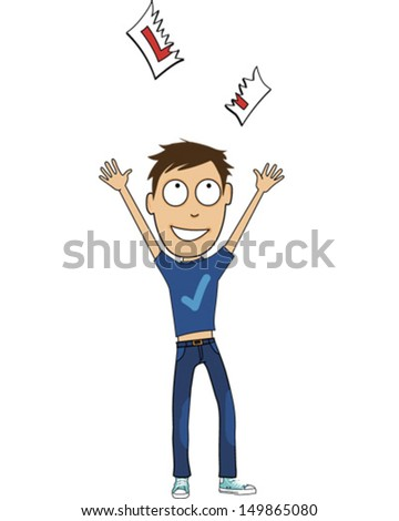 A Young Man Tears up his L-Plates upon Passing his Driving Test - stock vector