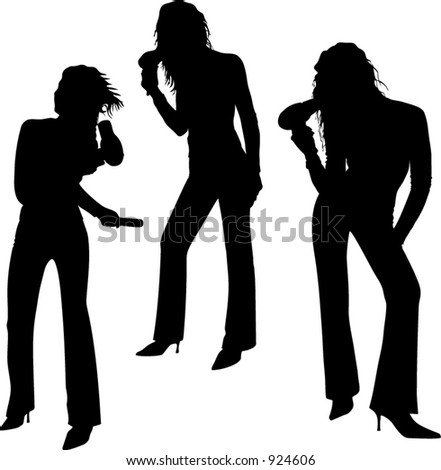 A young sexy woman with hair-drier - stock vector