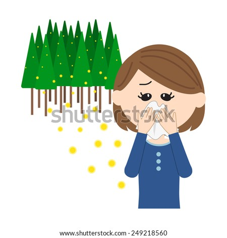 A young woman blowing nose, allergy caused by cedar pollen, vector illustration - stock vector