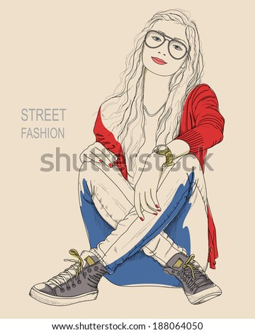 A young woman in glasses sitting on the ground. (Street fashion) - stock vector