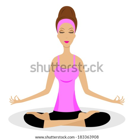 a young woman sits in the pose of lotus,vector illustration