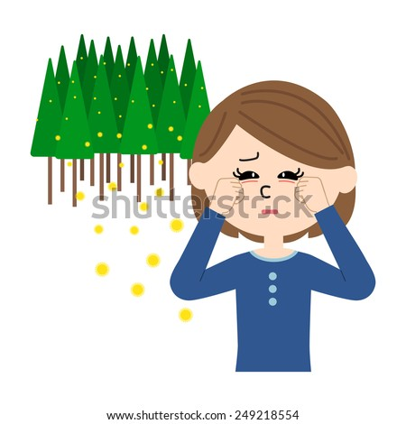 A young woman with itchy eyes, allergy caused by cedar pollen, vector illustration - stock vector