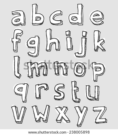 A-Z complete set of lowercase stained white decorative alphabet letters on grey for vector design elements with hand-drawn rough sketched black outlines - stock vector