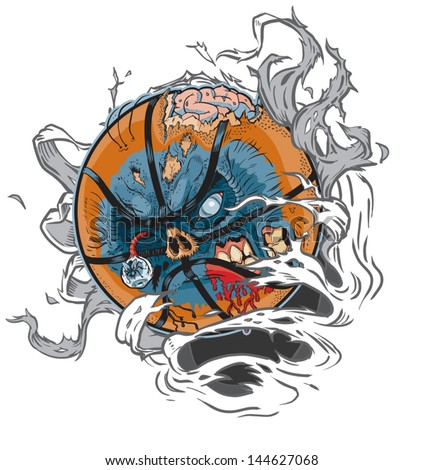 A Zombie Basketball Ripping out of the Background! All Important elements are in separate layers in the .eps file for easy customization! - stock vector