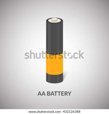 AA Battery vector icon. Isolated cylinder AA battery in cartoon style. - stock vector