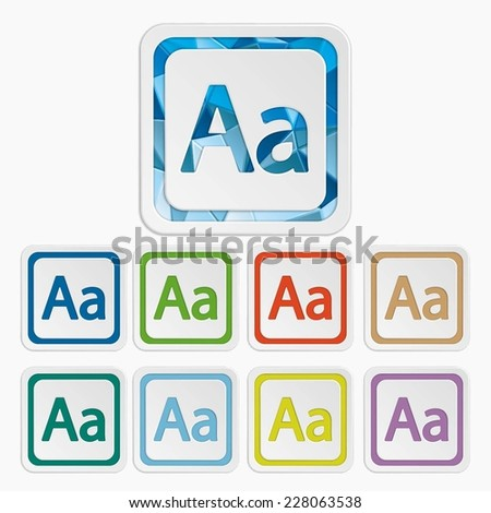 Aa icons.  symbols. Enlarge font buttons. Vector illustration. It can be used for the web sites and mobiles.