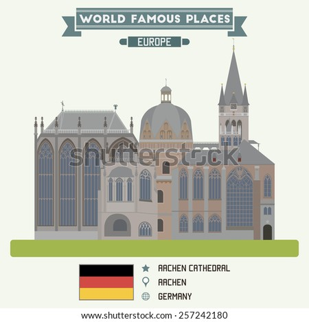 Aacen Cathedral. Germany famous places - stock vector