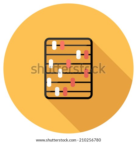 Abacus icon. Flat design style modern vector illustration. Isolated on stylish color background. Flat long shadow icon. Elements in flat design. - stock vector