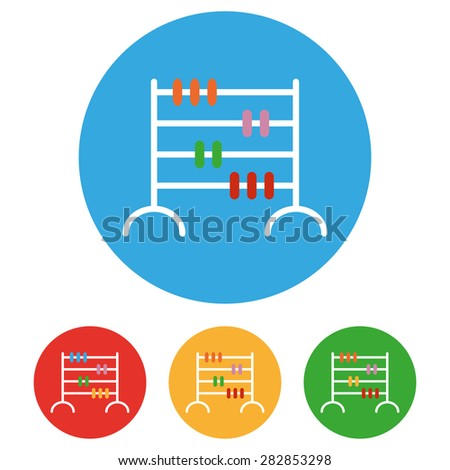 Abacus icons set, vector symbol - stock vector