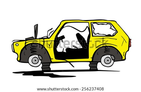 Abandoned car - stock vector