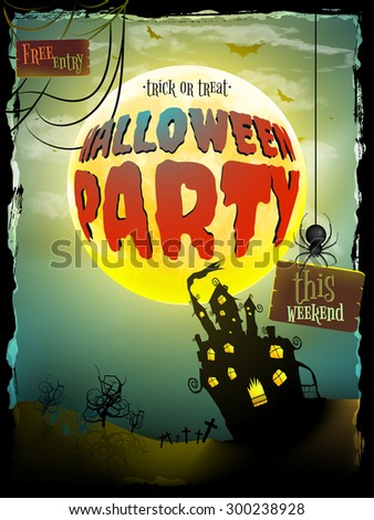Abandoned haunted house for Halloween holiday. EPS 10 vector file included - stock vector