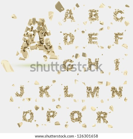 Abc alphabet type font set of vector letters broken into tiny glossy golden pieces - stock vector