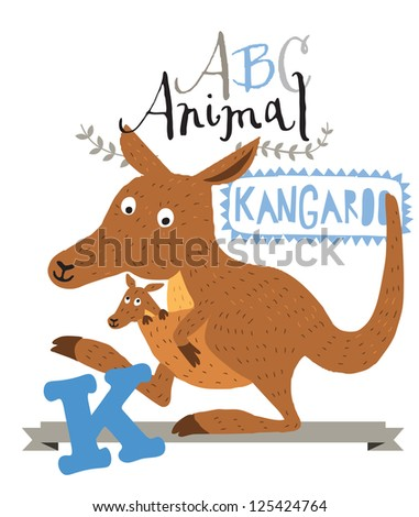 abc animals k is for kangaroo vector graphics